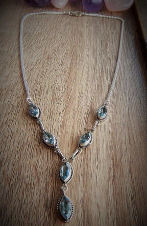 Blue Topaz & 925 Sterling Silver Necklace