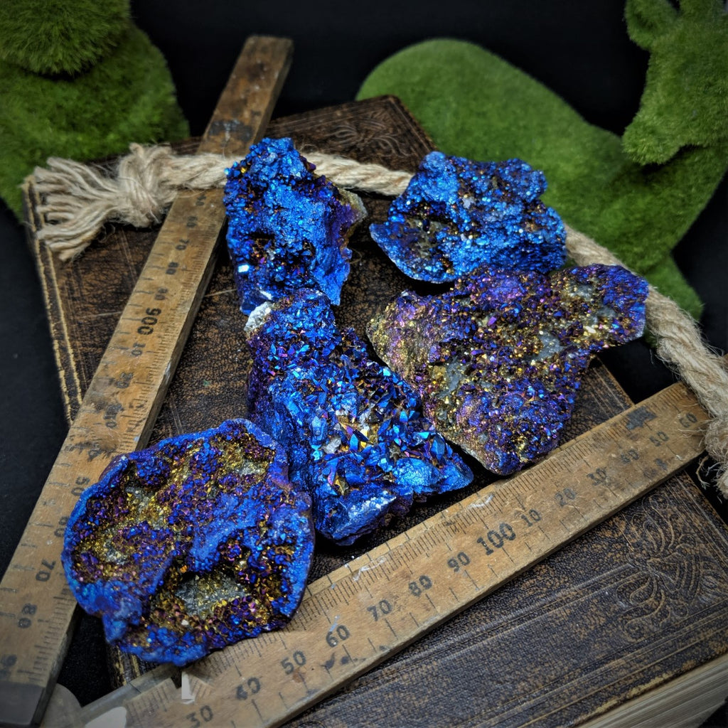 Electric Blue Titanium Aura Quartz - Large