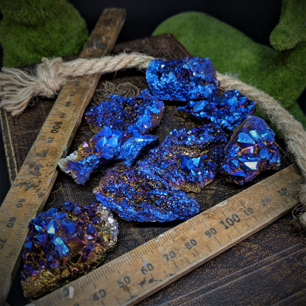 Electric Blue Titanium Aura Quartz - Teeny