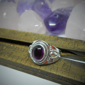 Size 9.5 Purple Garnet & 925 Sterling Silver Ring