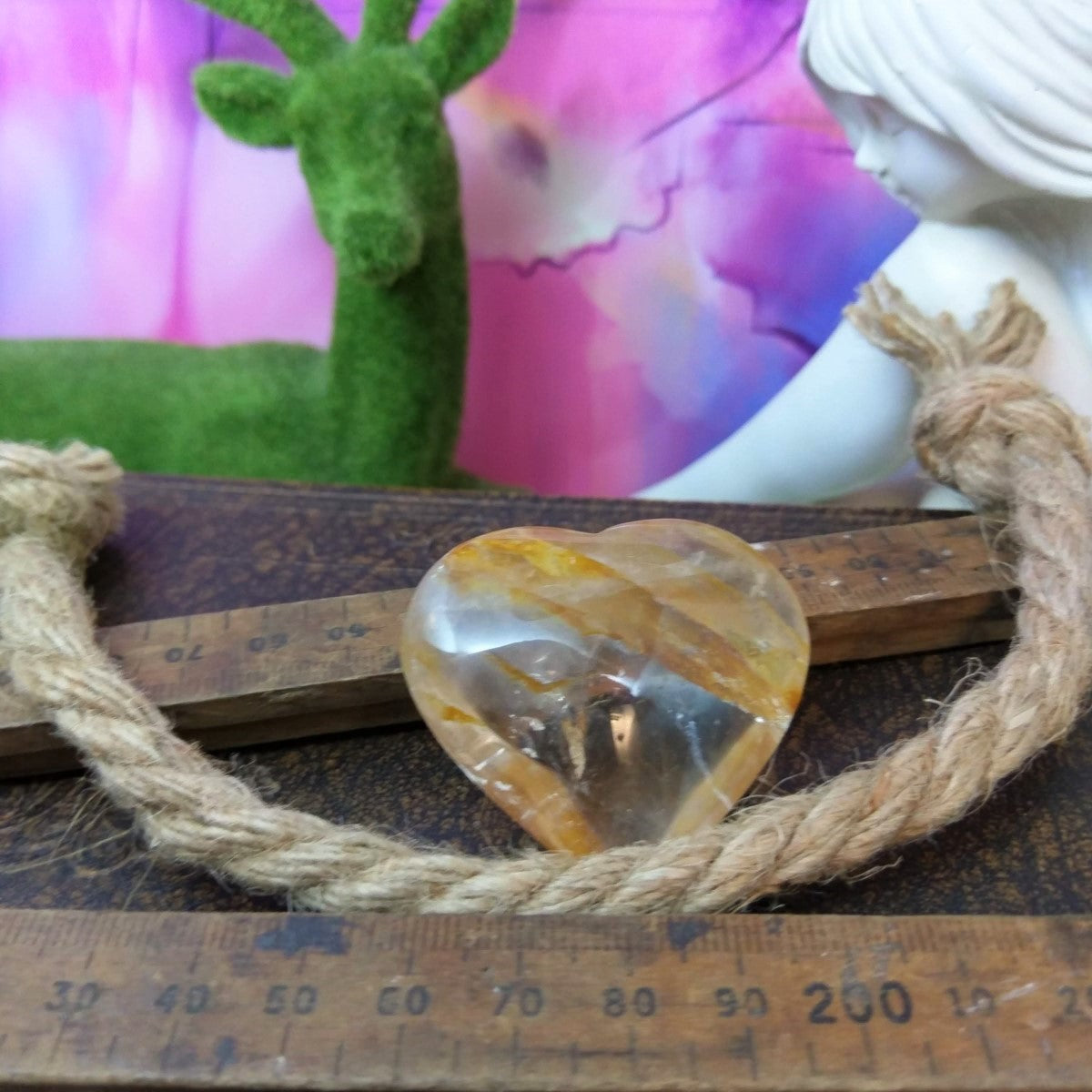 Golden Quartz Puffy Heart.