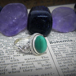 Size 8 Malachite & 925 Sterling Silver Ring
