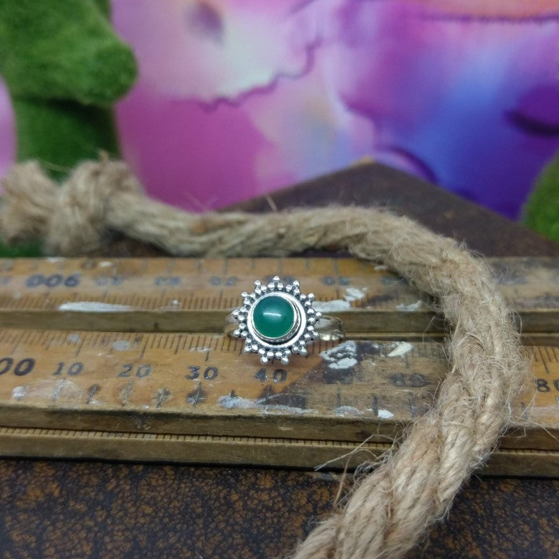 Size 6 - Green Onyx & 925 Sterling Silver Ring.