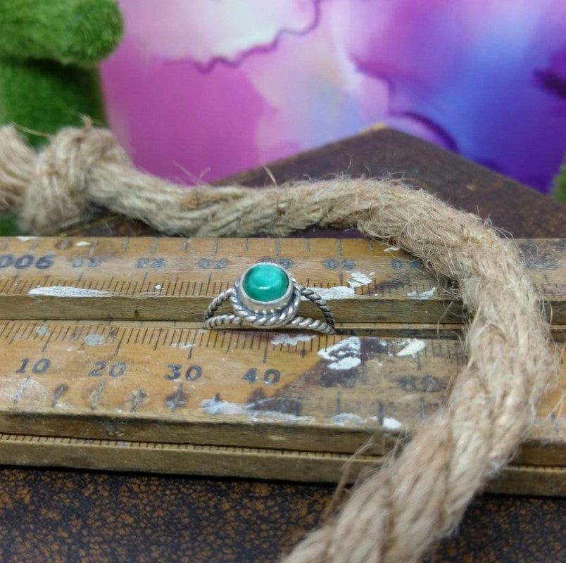 Size 6 - Malachite & Sterling Silver Ring #131