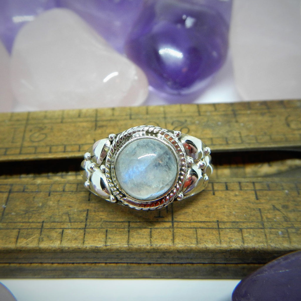 Size 8.5 Moonstone & Sterling Silver Ring #116