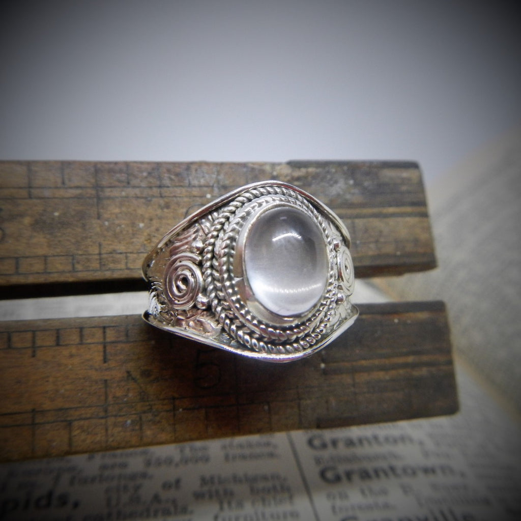 Size 8 Moonstone & Sterling Silver Ring #30
