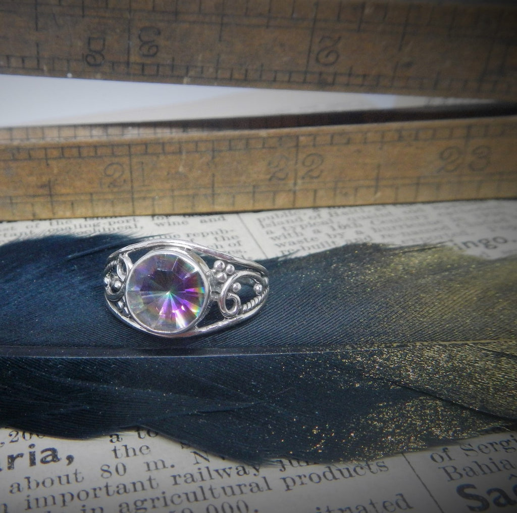 Size 8 Mystic Topaz & Sterling Silver Ring #29