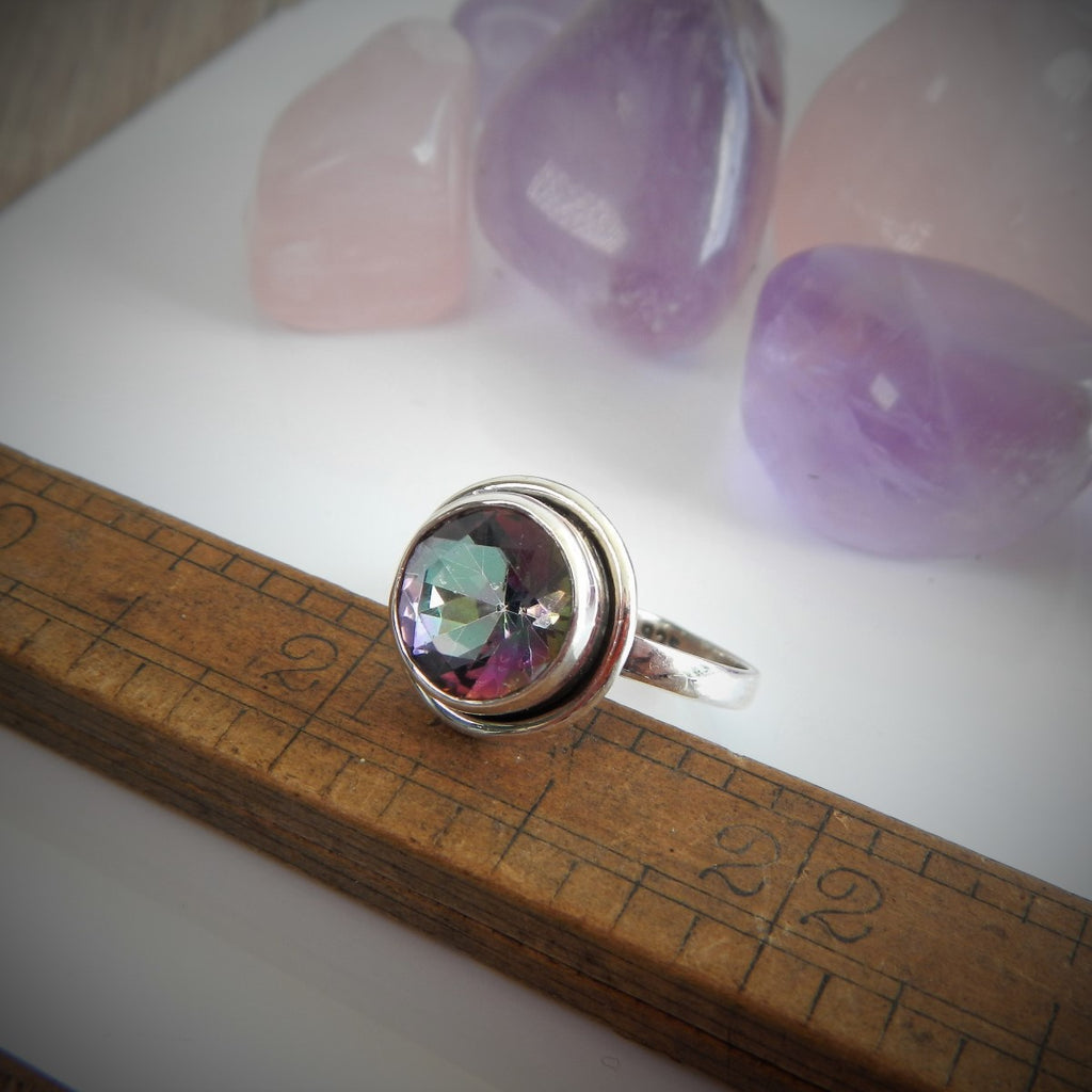 Size 9 Mystic Topaz & Sterling Silver Ring #64