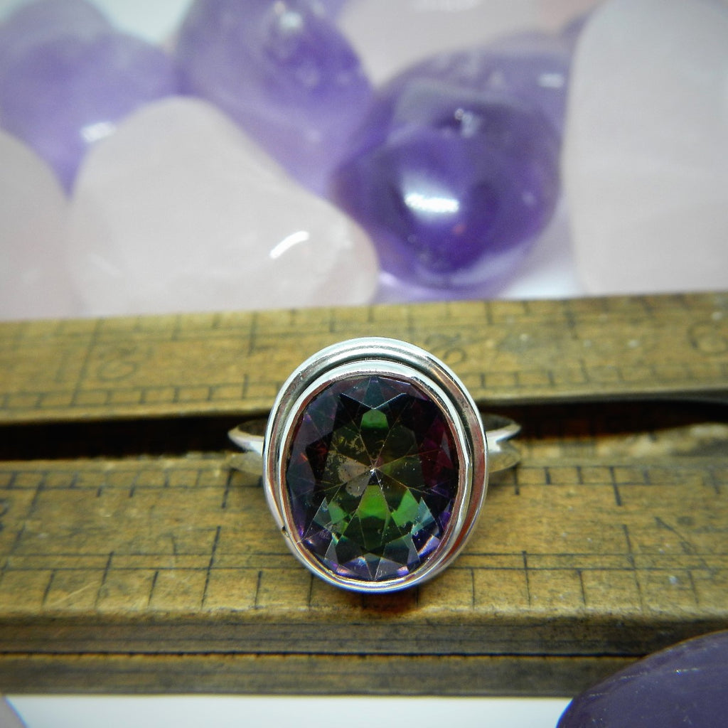 Size 8 Mystic Topaz & Sterling Silver Ring #115