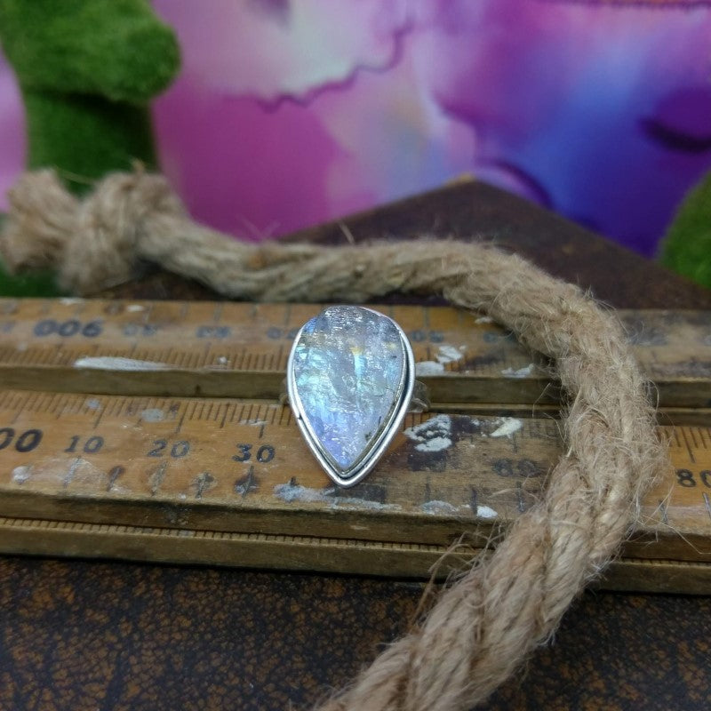 Size 6 - Moonstone Druzy & 925 Sterling Silver Ring.