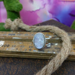 Size 8 Moonstone Druzy & Sterling Silver Ring #140