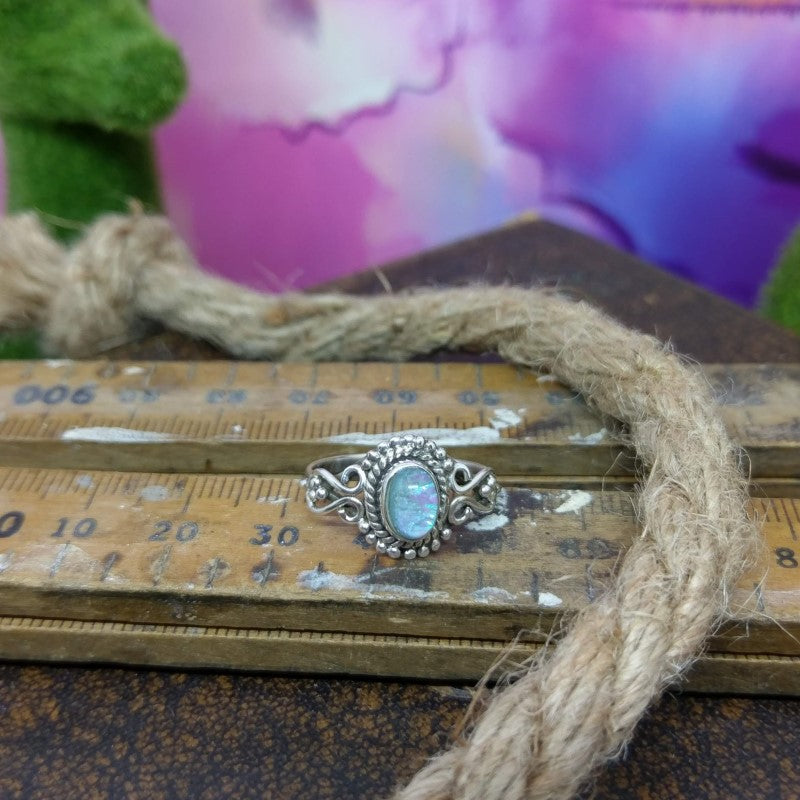 Size 7 Opalite & 925 Sterling Silver Ring.