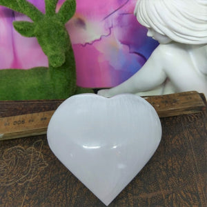 Selenite Puffy Heart