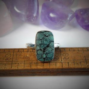 Size 8 Turquoise & 925 Sterling Silver Ring
