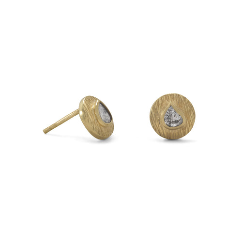 14 Karat Gold Plated Polki Diamond Post Earrings
