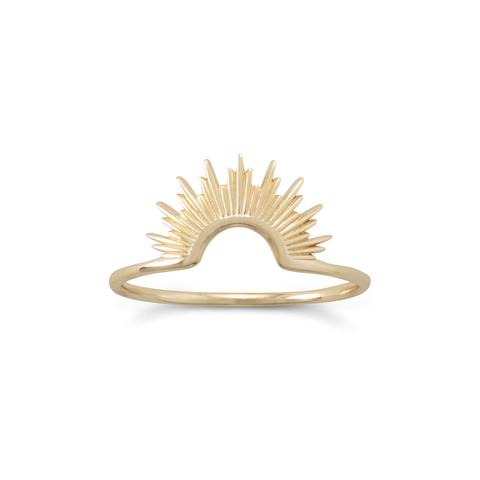 14 Karat Gold Plated Sunburst Ring