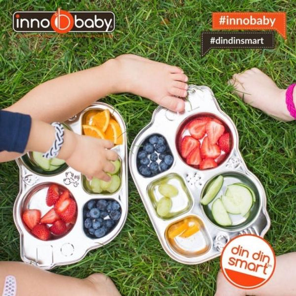 Innobaby - Fun Car Plate for 5 compartiments - 100% Stainless Steel - plate - chonpoli GmbH