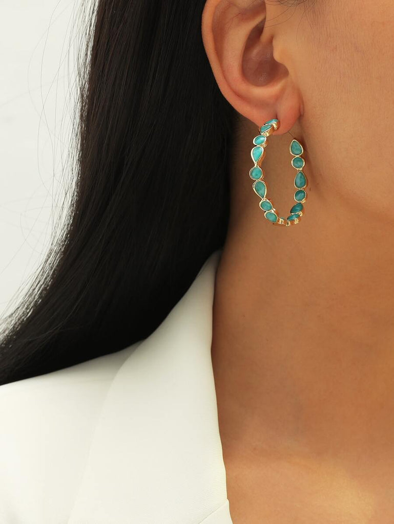 Blue & Gold hoop Earrings
