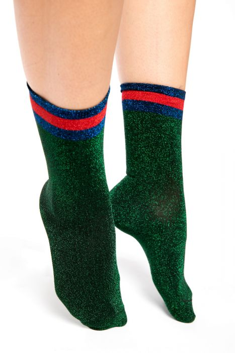 Green Shimmer socks with red top
