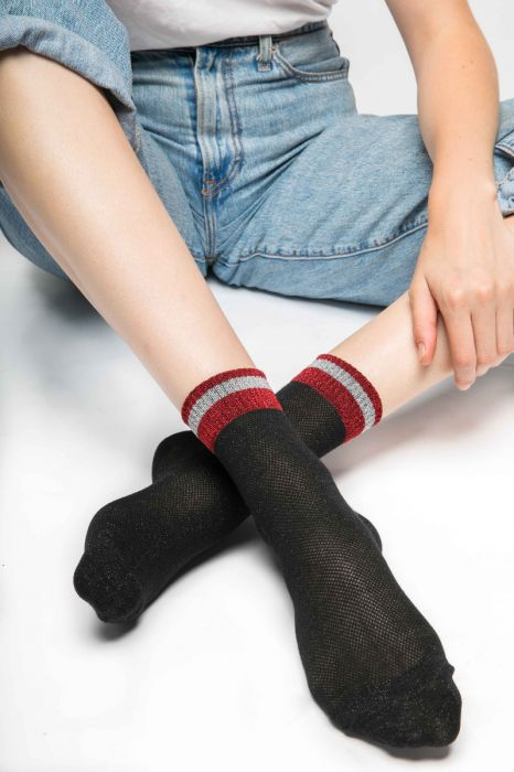 Black Shimmer socks with red top