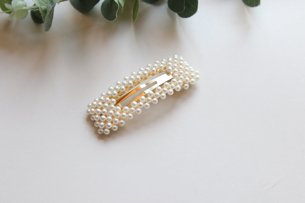Large rectangle Pearl Hair Clip