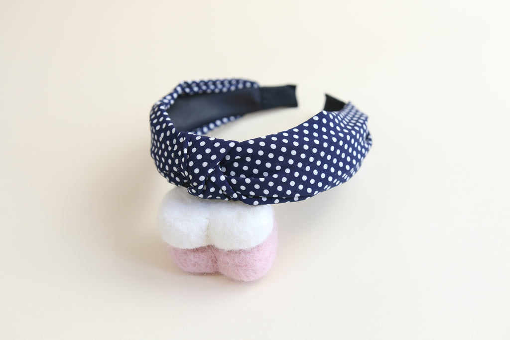 Navy spotty  headband