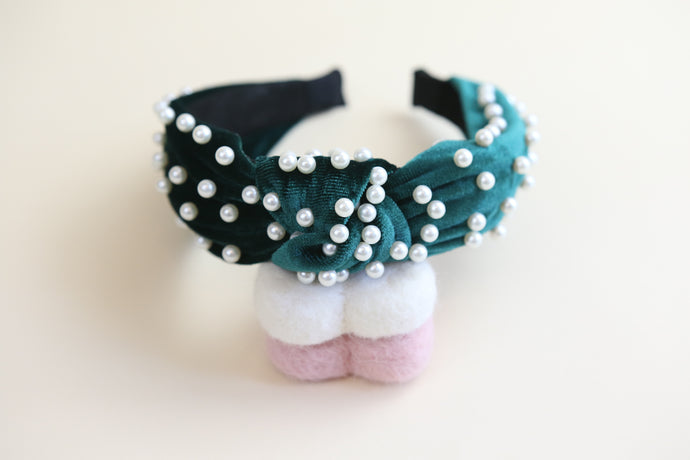 Green pearl twist headband