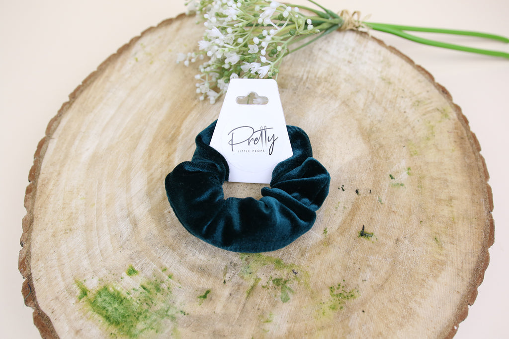 Bottle Green Velvet mini Scrunchy