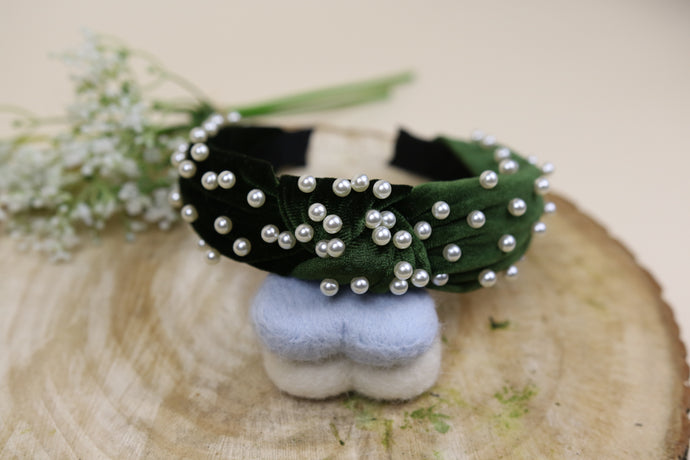 The olive pearl twist headband