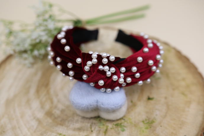 The Wine red pearl twist headband