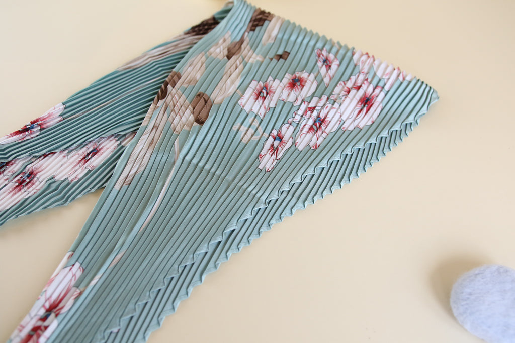 Blue floral Patterned Silk Scarf - multi way