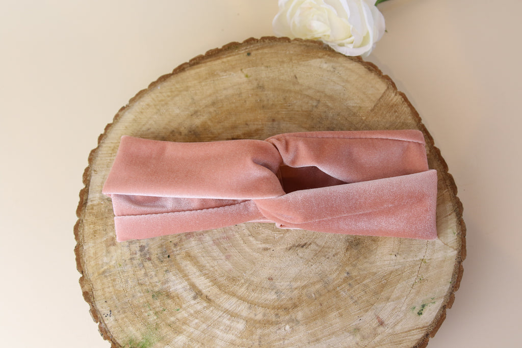 Soft Pink velvet Twist Headband