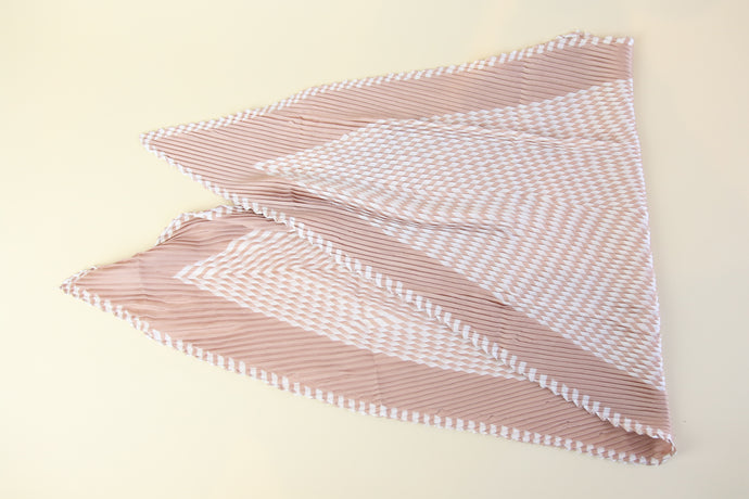 White and Pink Patterned Silk Scarf - multi way