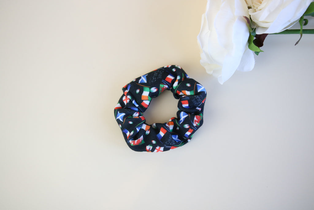 6 Nations Limited Edition Mini Black Scrunchy