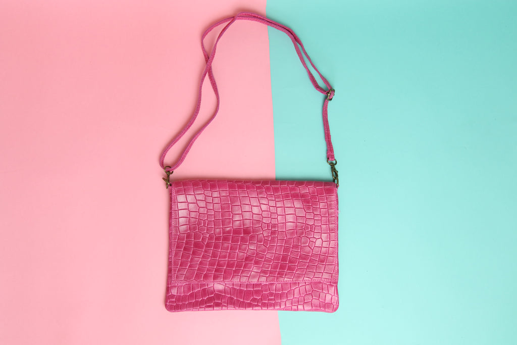 Croc Clutch Hot pink with Strap