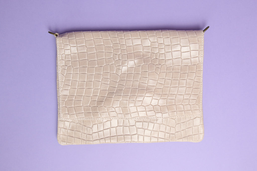 Croc Clutch Cream with Strap
