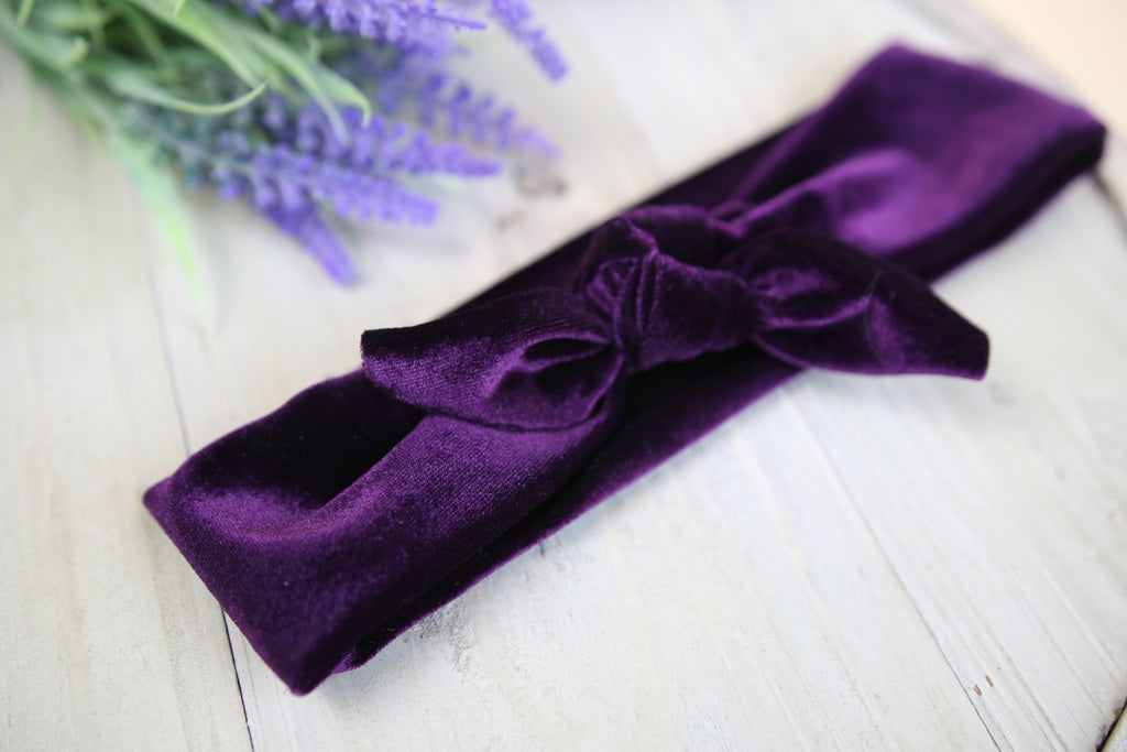 Children's Purple Velvet Tie headband