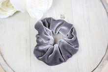 Load image into Gallery viewer, Grey Velvet Scrunchy