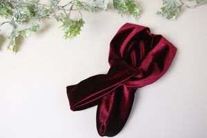 Wine red Velvet Twist knot headband