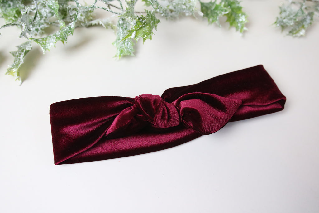 Wine Red  Velvet Tie headband