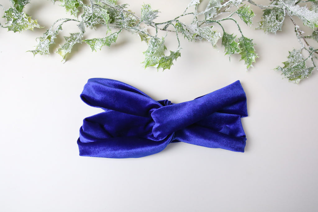 Cobalt Blue Velvet Twist knot headband