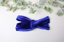 Load image into Gallery viewer, Cobalt Blue Velvet Twist knot headband