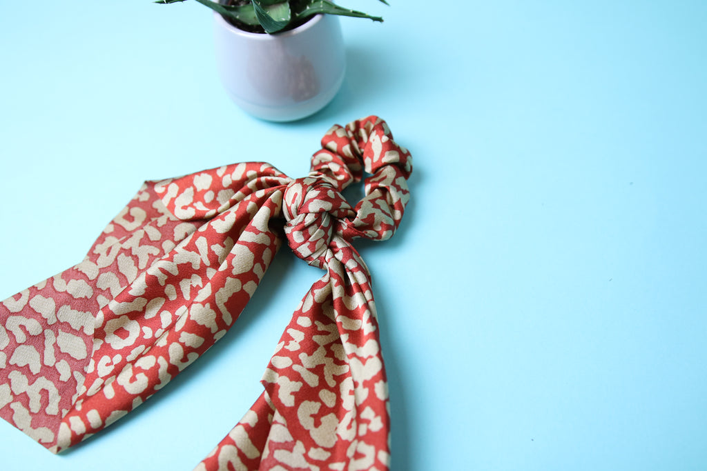 Burnt Orange Leopard scrunchy tie