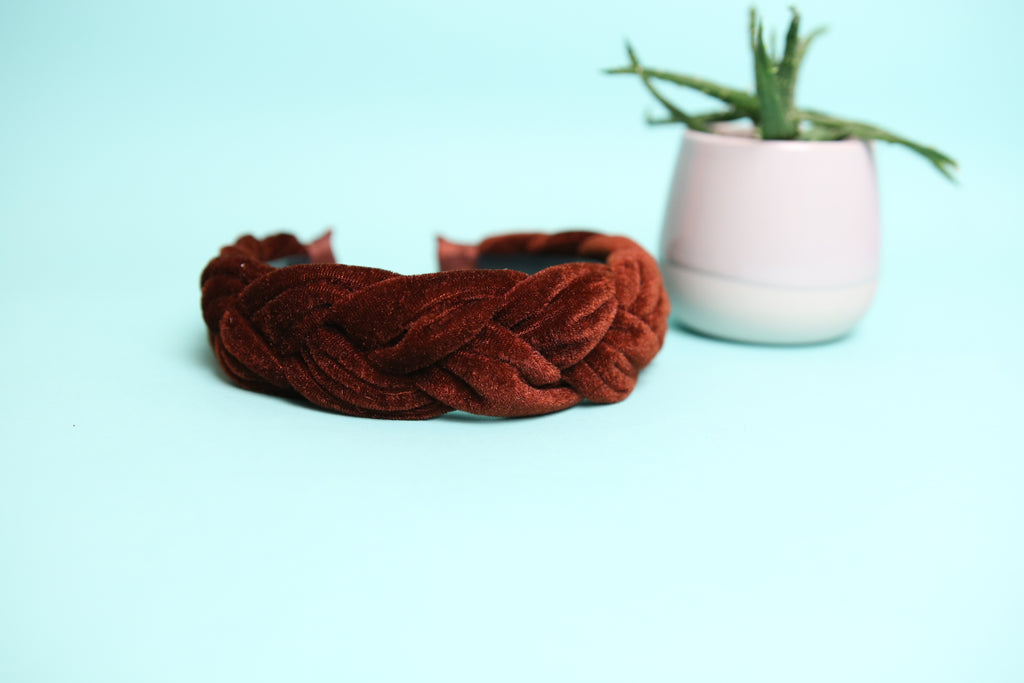 Rust  velvet plait  headband