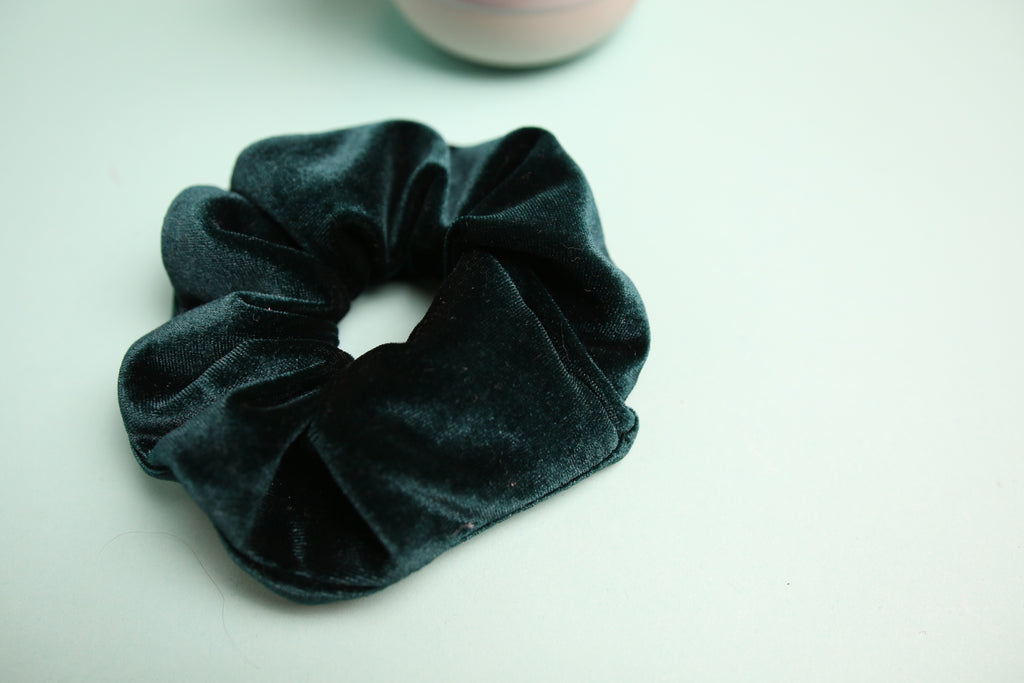 Bottle Green Velvet scrunchy
