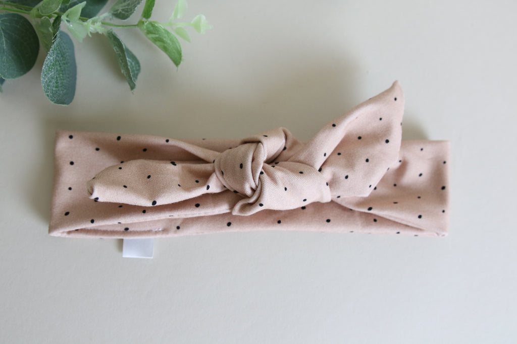 Latte DOTTY Headband Tie - mini
