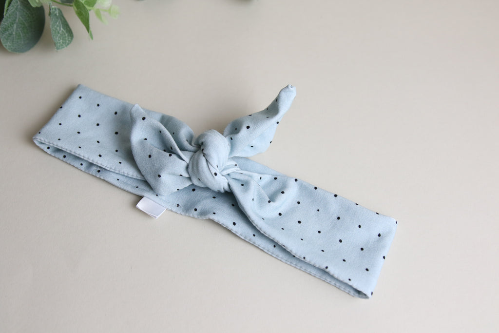 Sky blue mini dotty Headband Tie