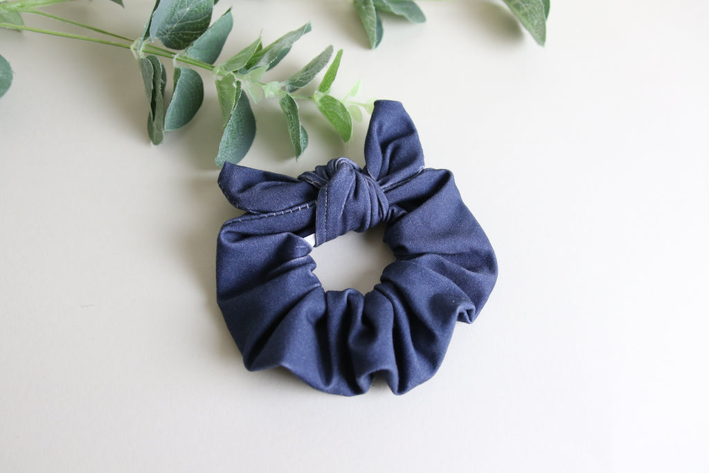 'Denim Navy' Bunny Scrunchy