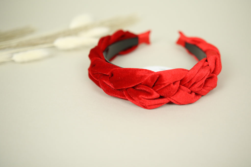 Bright Red velvet plait headband