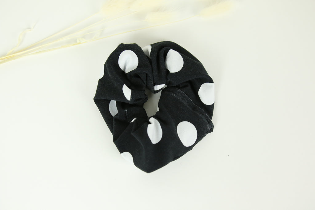 Black spotty & Black reversible scrunchy